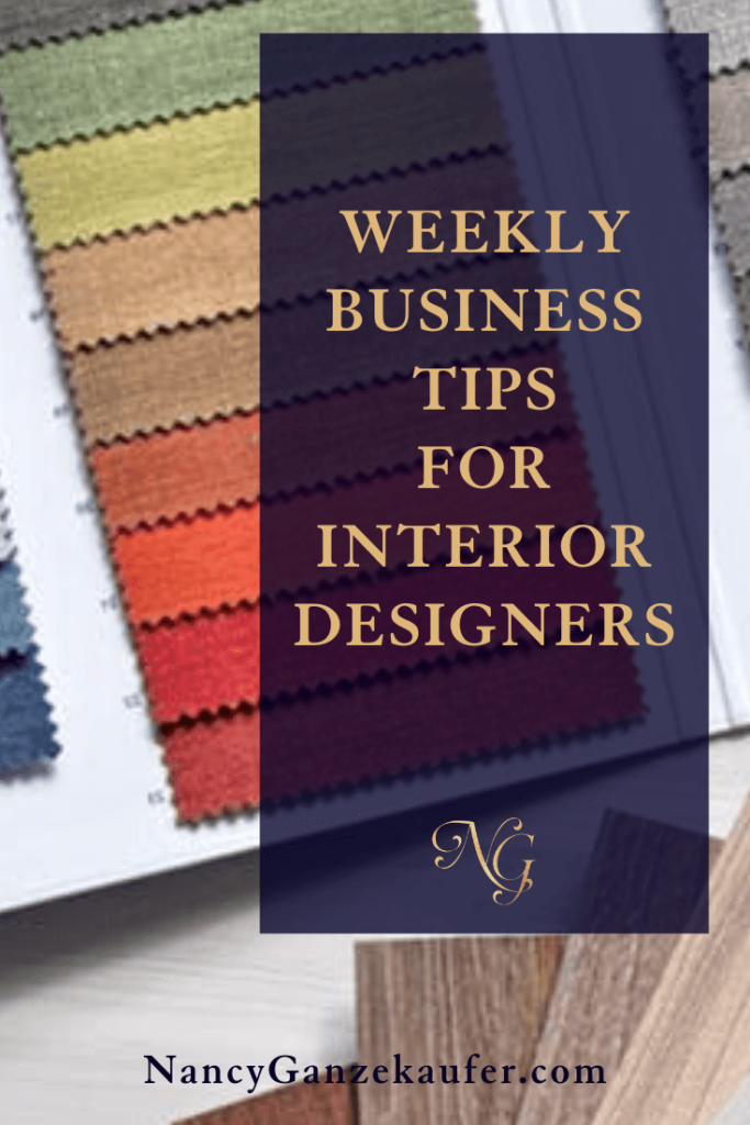 Top weekly business tips for your interior design business.